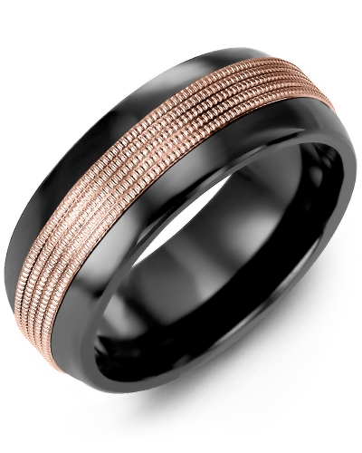 Men's & Women's Black Ceramic Half Round & Rose Gold Wedding Band from MADANI Rings. Wedding bands, fashion rings, promise rings, made of Tungsten, Ceramic, Cobalt, and Gold. View the collection at madanirings.com