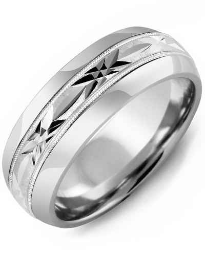 Men's & Women's Tungsten Half Round & White Gold Wedding Band 10K 8.5mm
