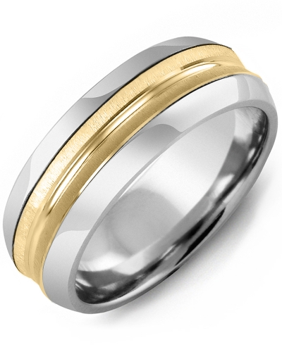 Men's & Women's Cobalt Half Round & Yellow Gold Wedding Band