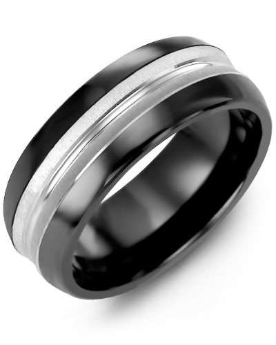 Men's & Women's Black Ceramic Half Round & White Gold Wedding Band from MADANI Rings. Wedding bands, fashion rings, promise rings, made of Tungsten, Ceramic, Cobalt, and Gold. View the collection at madanirings.com