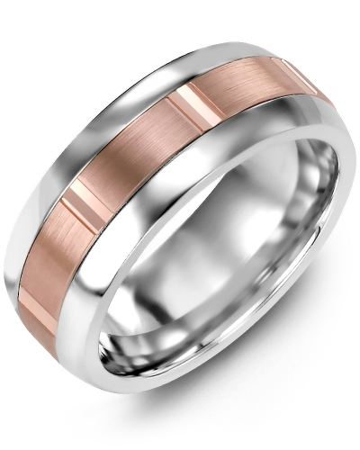 Men's & Women's Tungsten Half Round & Rose Gold Wedding Band from MADANI Rings. Wedding bands, fashion rings, promise rings, made of Tungsten, Ceramic, Cobalt, and Gold. View the collection at madanirings.com