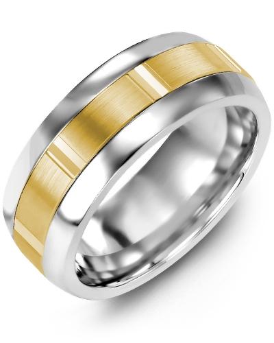 Men's & Women's Tungsten Half Round & Yellow Gold Wedding Band 10K 6.5mm