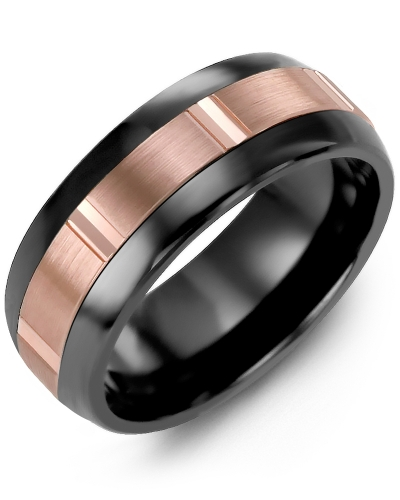 Men's & Women's Black Ceramic Half Round & Rose Gold Wedding Band