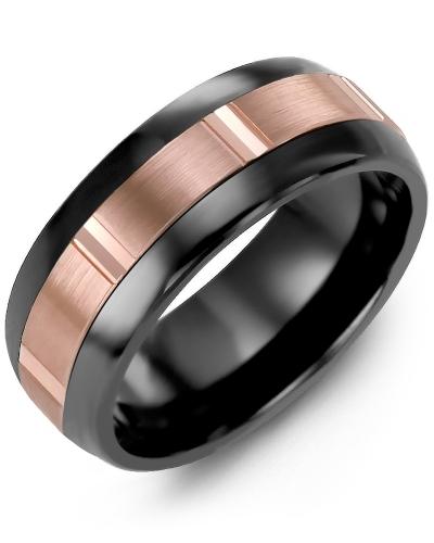 Men's & Women's Black Ceramic Half Round & Rose Gold Wedding Band 10K 6.5mm