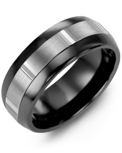 Men's & Women's Black Ceramic Half Round & White Gold Wedding Band 10K 6.5mm