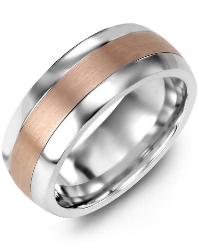 Men's & Women's Cobalt Half Round & Rose Gold Wedding Band from MADANI Rings. Wedding bands, fashion rings, promise rings, made of Tungsten, Ceramic, Cobalt, and Gold. View the collection at madanirings.com