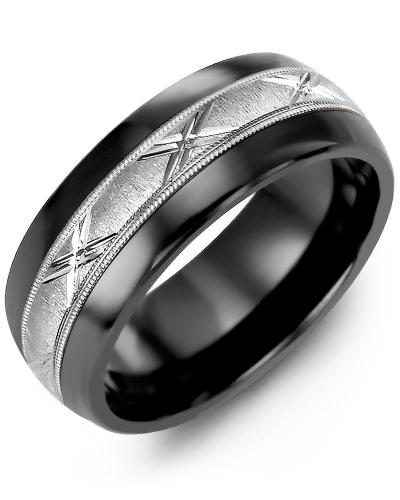 Men's & Women's Black Ceramic Half Round & White Gold Wedding Band 10K 8.5mm