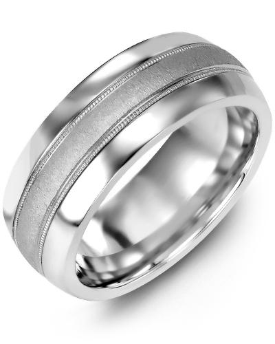 Men's & Women's Tungsten Half Round & White Gold Wedding Band