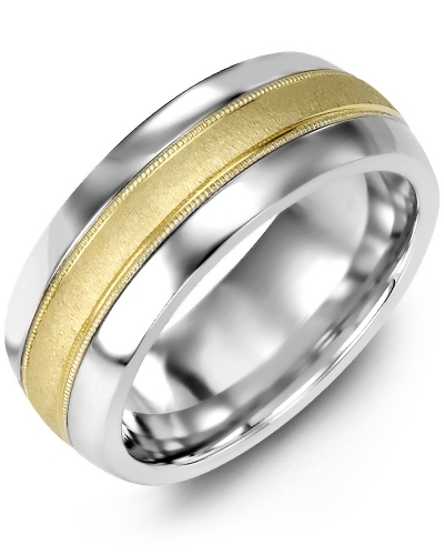 Men's & Women's Tungsten Half Round & Yellow Gold Wedding Band from MADANI Rings. Wedding bands, fashion rings, promise rings, made of Tungsten, Ceramic, Cobalt, and Gold. View the collection at madanirings.com