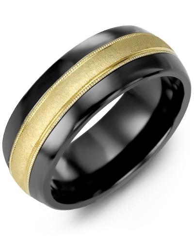 Men's & Women's Black Ceramic Half Round & Yellow Gold Wedding Band