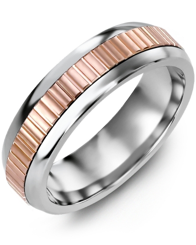 Men's & Women's Cobalt Half Round & Rose Gold Wedding Band 10K 8.5mm