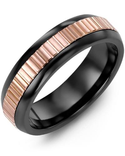 Men's & Women's Black Ceramic Half Round & Rose Gold Wedding Band