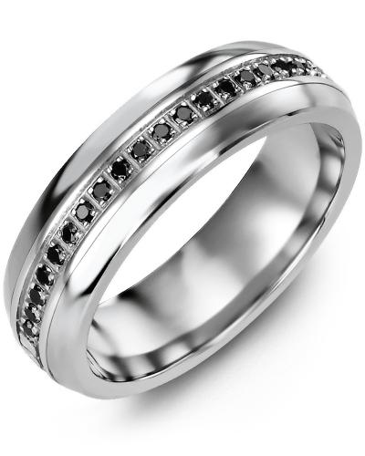 Men's & Women's Tungsten Half Round & White Gold + 21 Black Diamonds tcw 0.21 Wedding Band