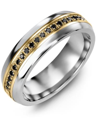 Men's & Women's Tungsten Half Round & Yellow Gold + 21 Black Diamonds tcw 0.21 Wedding Band