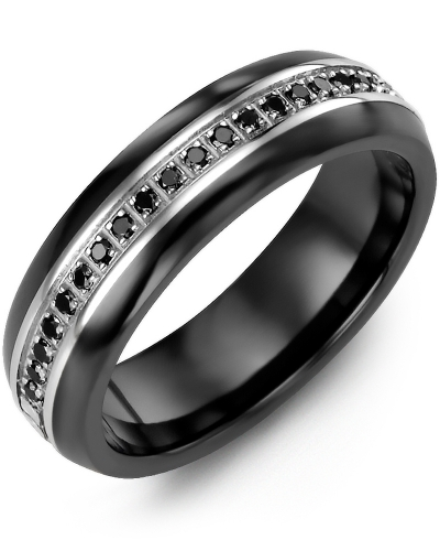 Men's & Women's Black Ceramic Half Round & White Gold + 21 Black Diamonds tcw 0.21 Wedding Band from MADANI Rings. Wedding bands, fashion rings, promise rings, made of Tungsten, Ceramic, Cobalt, and Gold. View the collection at madanirings.com