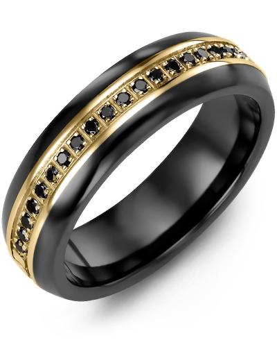 Men's & Women's Black Ceramic Half Round & Yellow Gold + 21 Black Diamonds tcw 0.21 Wedding Band