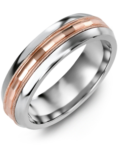 Men's & Women's Cobalt Half Round & Rose Gold Wedding Band