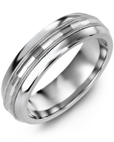 Men's & Women's Cobalt Half Round & White Gold Wedding Band