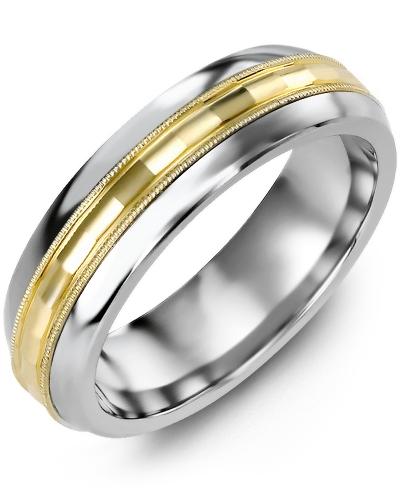 Men's & Women's Cobalt Half Round & Yellow Gold Wedding Band 10K 8.5mm