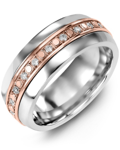 Men's & Women's Tungsten Half Round & Rose Gold + 18 Diamonds tcw. 0.36 Wedding Band