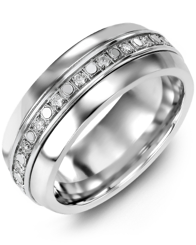 Men's & Women's Tungsten Half Round & White Gold + 18 Diamonds tcw. 0.36 Wedding Band from MADANI Rings. Wedding bands, fashion rings, promise rings, made of Tungsten, Ceramic, Cobalt, and Gold. View the collection at madanirings.com