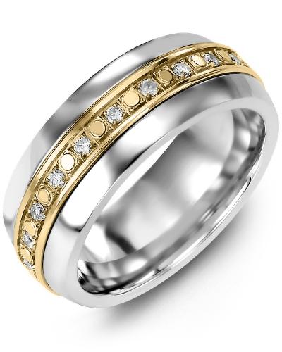 Men's & Women's Tungsten Half Round & Yellow Gold + 18 Diamonds 0.36ct Wedding Band