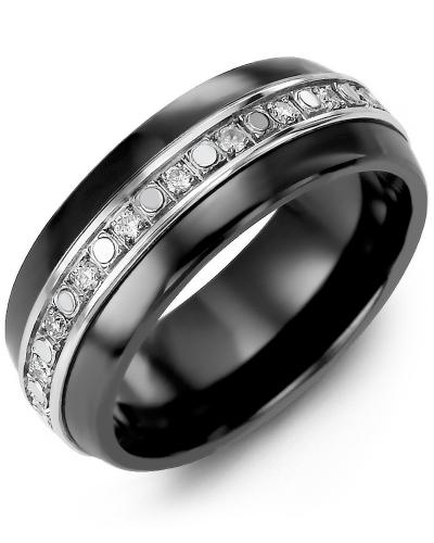 Men's & Women's Black Ceramic Half Round & White Gold + 18 Diamonds 0.36ct Wedding Band