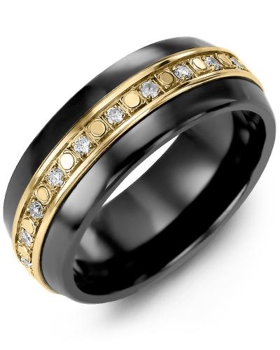 Men's & Women's Black Ceramic Half Round & Yellow Gold + 18 Diamonds 0.36ct Wedding Band
