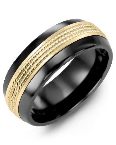 Men's & Women's Black Ceramic Half Round & Yellow Gold Wedding Band 10K 8.5mm
