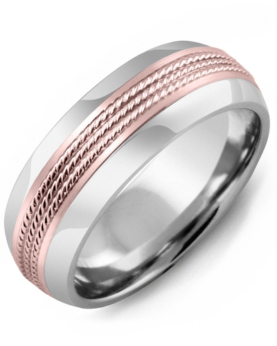 Men's & Women's Tungsten Half Round & Rose Gold Wedding Band