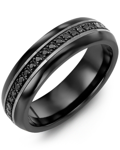 Men's & Women's Black Ceramic Half Round & Black Gold + 15 Black Diamonds 0.15ct Wedding Band
