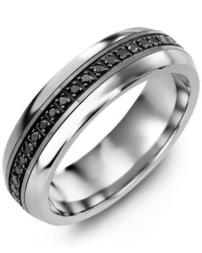 Men's & Women's Cobalt Half Round & Black Gold + 15 Black Diamonds 0.15ct Wedding Band