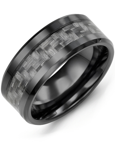 Men's & Women's Black Ceramic & Carbon Fiber Wedding Band from MADANI Rings. Wedding bands, fashion rings, promise rings, made of Tungsten, Ceramic, Cobalt, and Gold. View the collection at madanirings.com