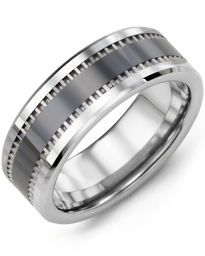 Men's & Women's Tungsten & Black Ceramic Wedding Band from MADANI Rings. Wedding bands, fashion rings, promise rings, made of Tungsten, Ceramic, Cobalt, and Gold. View the collection at madanirings.com