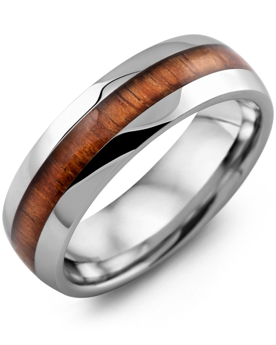 Men S Polished Dome Koa Wood Tungsten Wedding Band Madani Rings