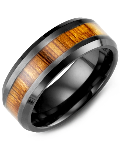 Men's & Women's Black Ceramic & Koa Wood Wedding Band from MADANI Rings. Wedding bands, fashion rings, promise rings, made of Tungsten, Ceramic, Cobalt, and Gold. View the collection at madanirings.com