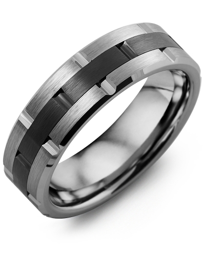 Men's Grooved Tungsten & Ceramic Wedding Band