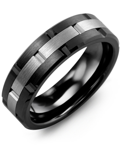 Men's & Women's Black Ceramic & Tungsten Wedding Band