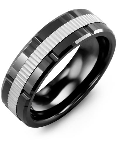 Men's & Women's Black Ceramic Polish Grooves & White Gold Wedding Band