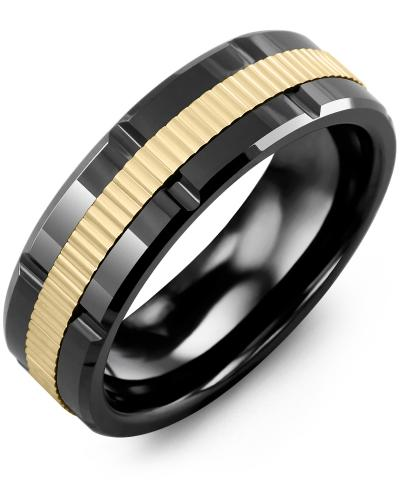 Men's & Women's Black Ceramic Polish Grooves & Yellow Gold Wedding Band
