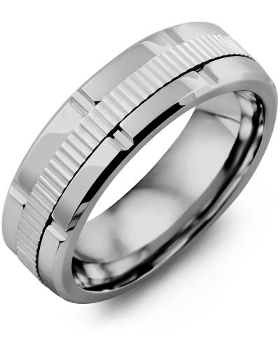 Men's & Women's Tungsten Polish Grooves & White Gold Wedding Band