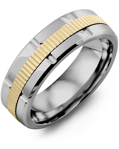 Men's & Women's Tungsten Polish Grooves & Yellow Gold Wedding Band 10K 7mm