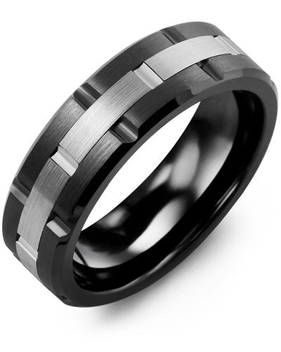 Men's & Women's Black Ceramic Brush Grooves & White Gold Wedding Band 10K 7mm