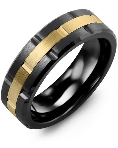 Men's & Women's Black Ceramic Brush Grooves & Yellow Gold Wedding Band 10K 7mm