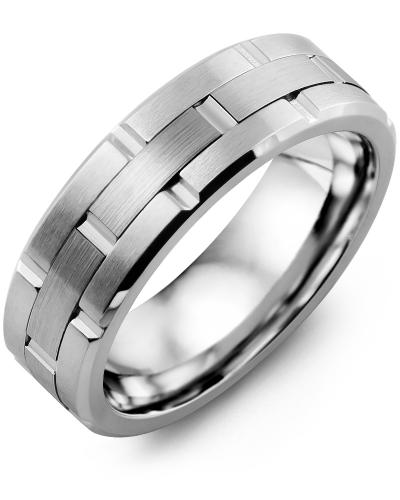 Men's & Women's Cobalt Brush Grooves & White Gold Wedding Band from MADANI Rings. Wedding bands, fashion rings, promise rings, made of Tungsten, Ceramic, Cobalt, and Gold. View the collection at madanirings.com
