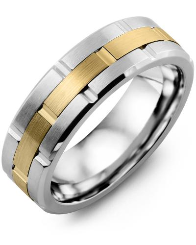 Men's & Women's Cobalt Brush Grooves & Yellow Gold Wedding Band 10K 7mm
