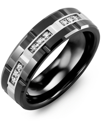 Men's & Women's Black Ceramic Polish Grooves & White Gold + 9 Diamonds 0.09ct Wedding Band