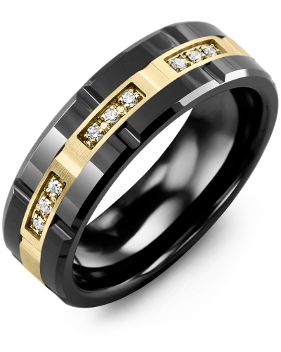 Men's & Women's Black Ceramic Polish Grooves & Yellow Gold + 9 Diamonds 0.09ct Wedding Band