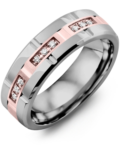 Men's & Women's Tungsten Polish Grooves & Rose Gold + 9 Diamonds 0.09ct Wedding Band