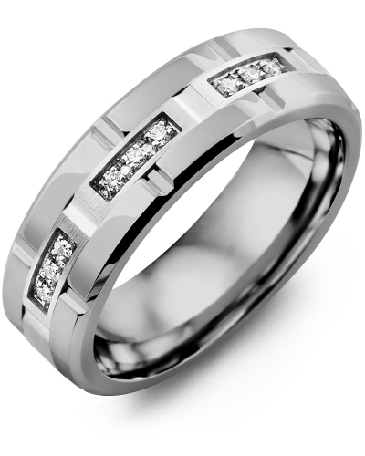 Men's & Women's Tungsten Polish Grooves & White Gold + 9 Diamonds tcw 0.09 Wedding Band